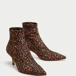 Zara Liberty Print Sock Ankle Kitten Heel Boot 36